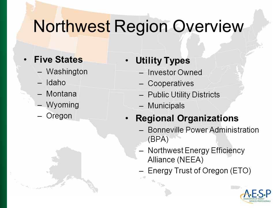 Northwest Region Overview Five States –Washington –Idaho –Montana –Wyoming –Oregon Utility Types –Investor Owned –Cooperatives –Public Utility Distric