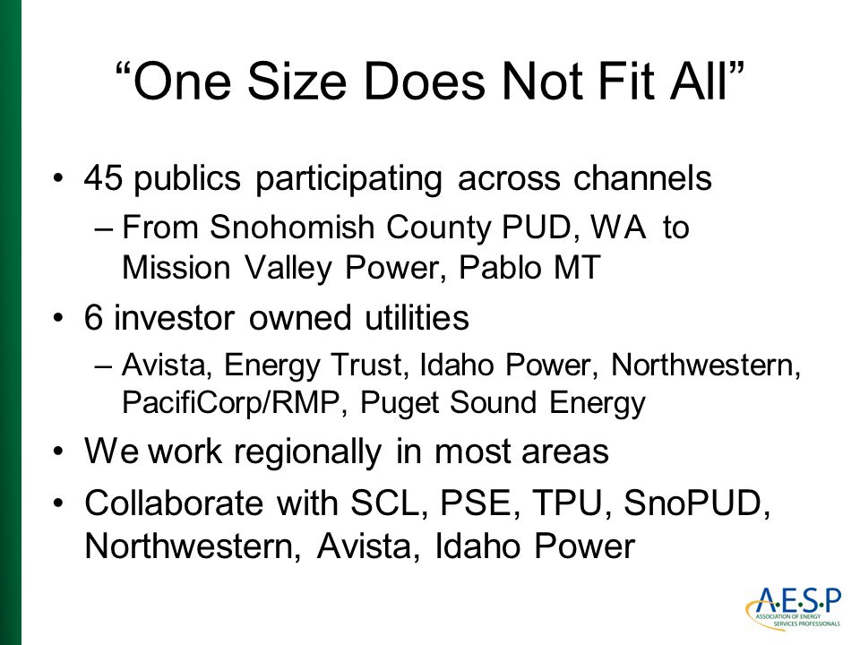 """One Size Does Not Fit All"" 45 publics participating across channels –From Snohomish County PUD, WA to Mission Valley Power, Pablo MT 6 investor owned"