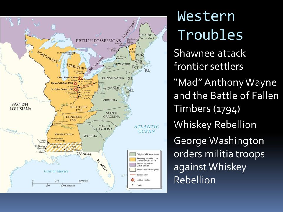 Western Troubles  Shawnee attack frontier settlers  Mad Anthony Wayne and the Battle of Fallen Timbers (1794)  Whiskey Rebellion  George Washington orders militia troops against Whiskey Rebellion