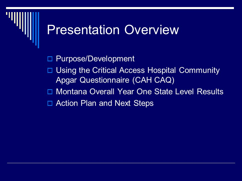 Presentation Overview  Purpose/Development  Using the Critical Access Hospital Community Apgar Questionnaire (CAH CAQ)  Montana Overall Year One St