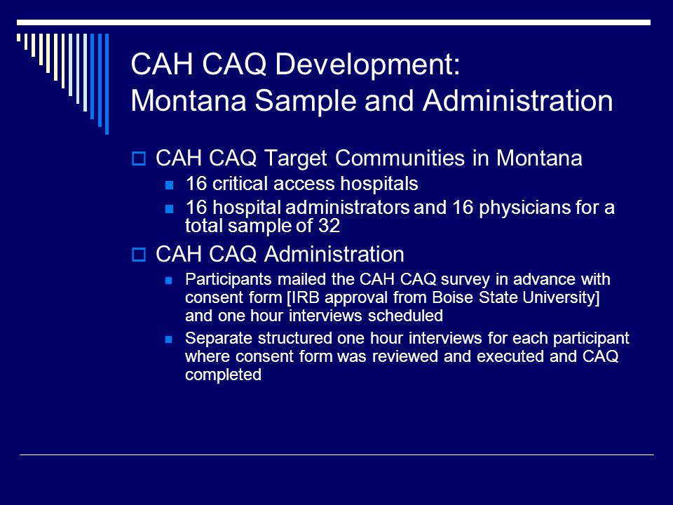 Use of the CAH CAQ  This assessment allows for identification of both modifiable and non-modifiable factors and also may suggest which factors are most important for a community to address with limited available resources.