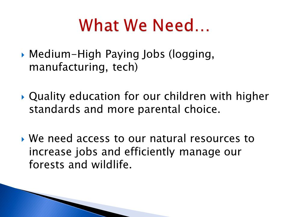  Medium-High Paying Jobs (logging, manufacturing, tech)  Quality education for our children with higher standards and more parental choice.