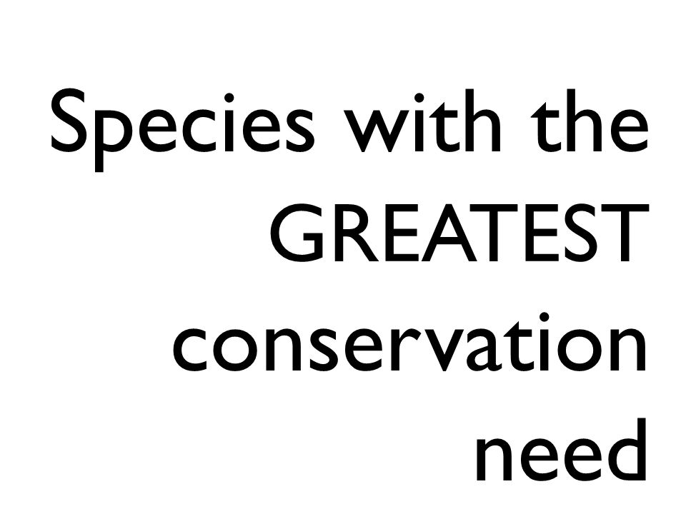 Species with the GREATEST conservation need