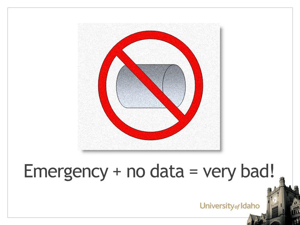 Emergency + no data = very bad!