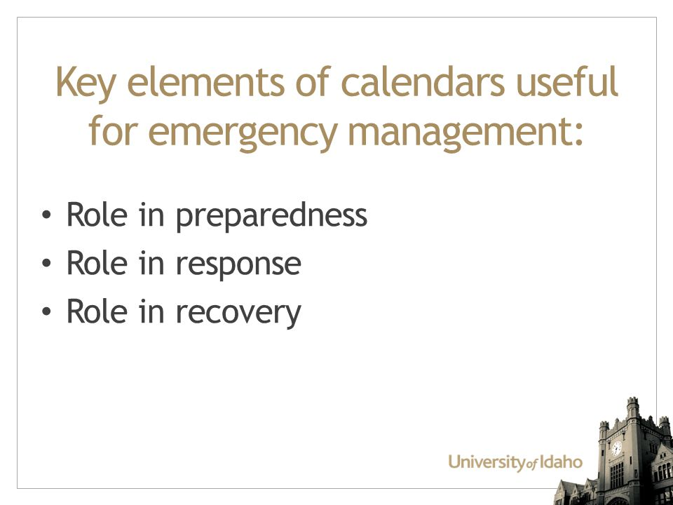 Key elements of calendars useful for emergency management: Role in preparedness Role in response Role in recovery