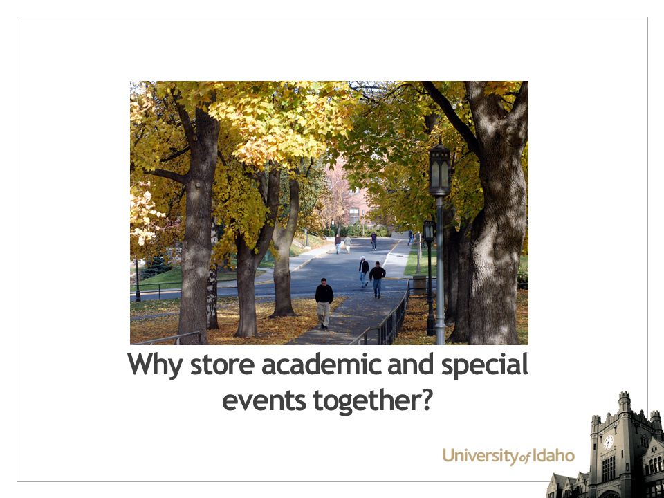 Why store academic and special events together