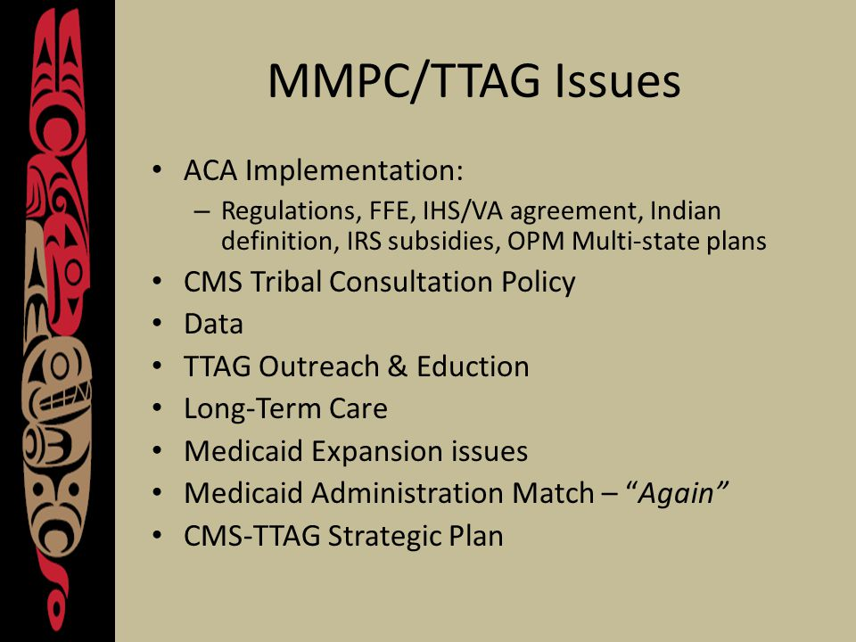 MMPC/TTAG Issues ACA Implementation: – Regulations, FFE, IHS/VA agreement, Indian definition, IRS subsidies, OPM Multi-state plans CMS Tribal Consultation Policy Data TTAG Outreach & Eduction Long-Term Care Medicaid Expansion issues Medicaid Administration Match – Again CMS-TTAG Strategic Plan