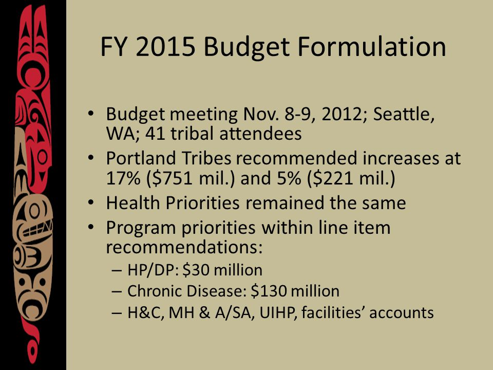 Summary of Portland Area Recommendations – FY 2015 17%5% Federal & Tribal Pay Cost Increases$34.6 million Non-Medical Inflation$28.6 million$14.3 million Medical Inflation$131.8 million$65.9 million Population Growth$49.1 million Contract Support Costs$ 130 million Total Current Service & CSC Amounts $374.1 million $163.9 million Total Increase$751.8$221