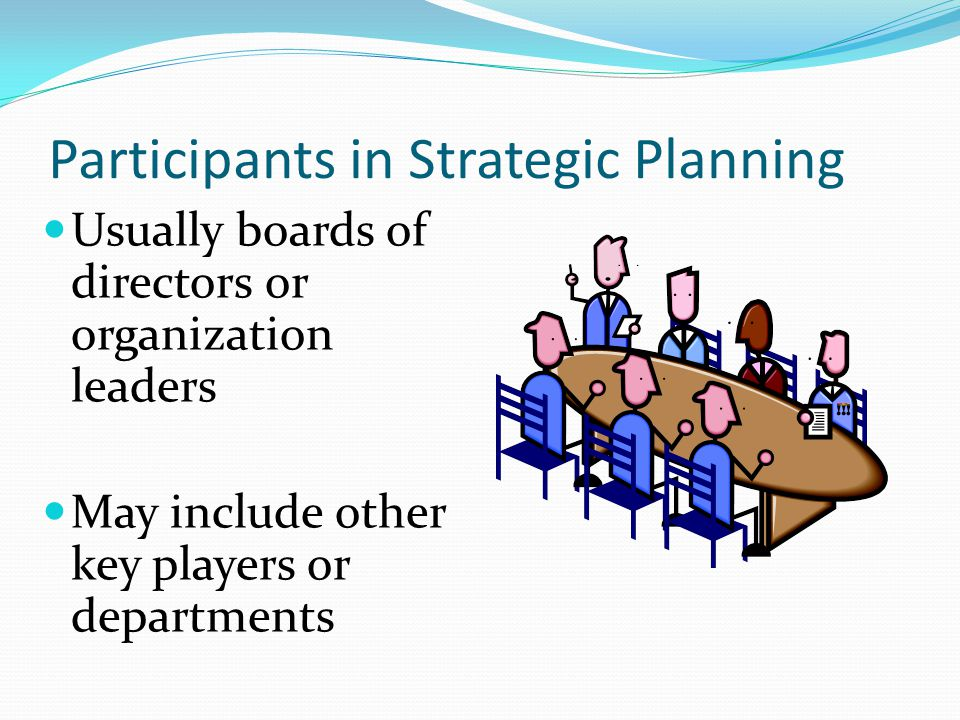 Participants in Strategic Planning Usually boards of directors or organization leaders May include other key players or departments