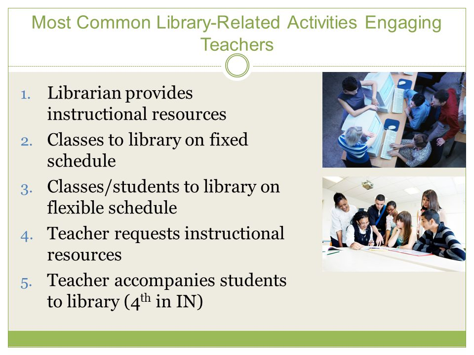 Most Common Library-Related Activities Engaging Teachers 1.