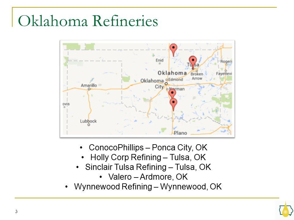 Oklahoma Refineries 3 ConocoPhillips – Ponca City, OK Holly Corp Refining – Tulsa, OK Sinclair Tulsa Refining – Tulsa, OK Valero – Ardmore, OK Wynnewood Refining – Wynnewood, OK