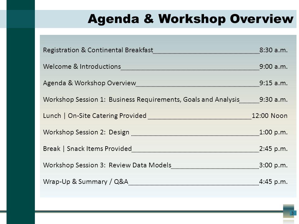 3 Agenda & Workshop Overview Registration & Continental Breakfast8:30 a.m.