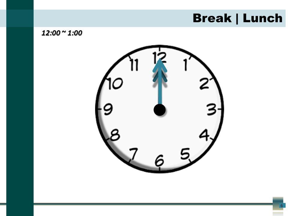 12:00 ~ 1:00 6 Break | Lunch