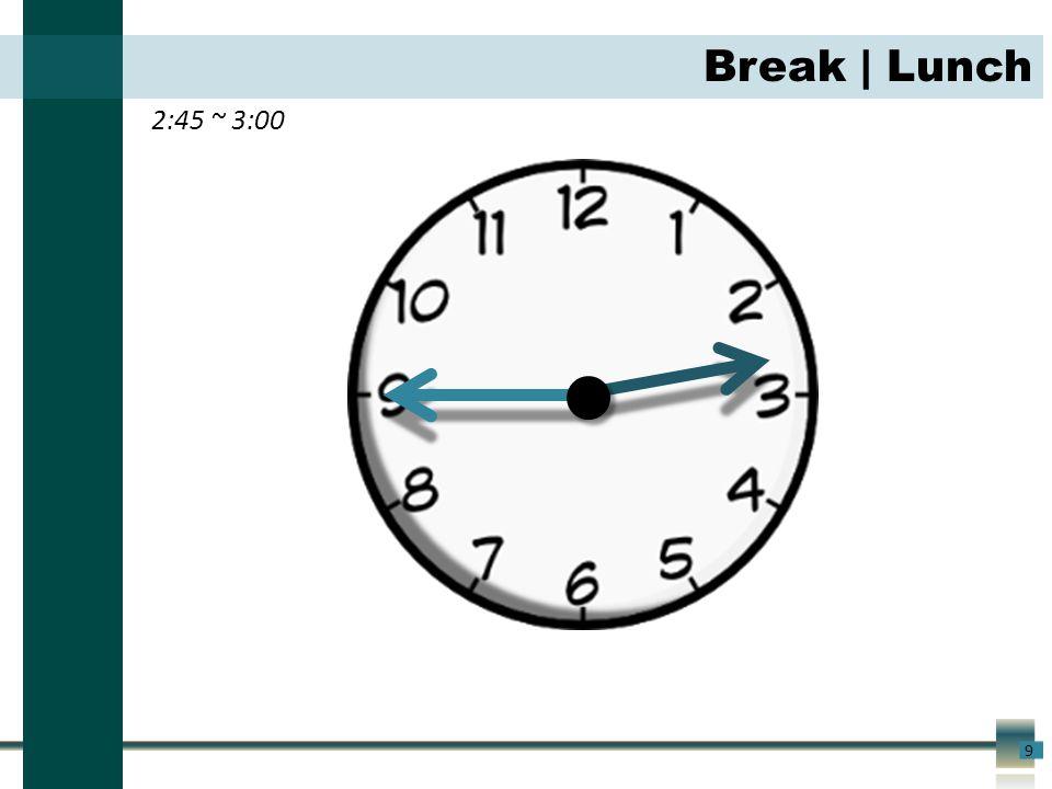 2:45 ~ 3:00 9 Break | Lunch