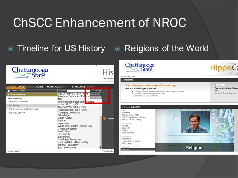 ChSCC Enhancement of NROC  Timeline for US History  Religions of the World