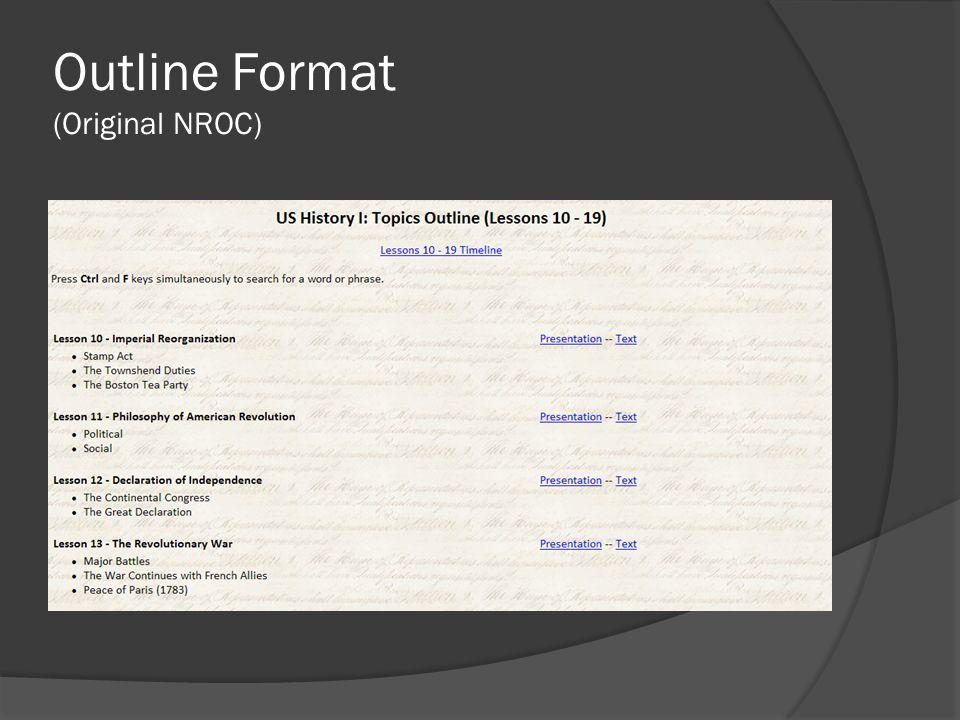Outline Format (Original NROC)