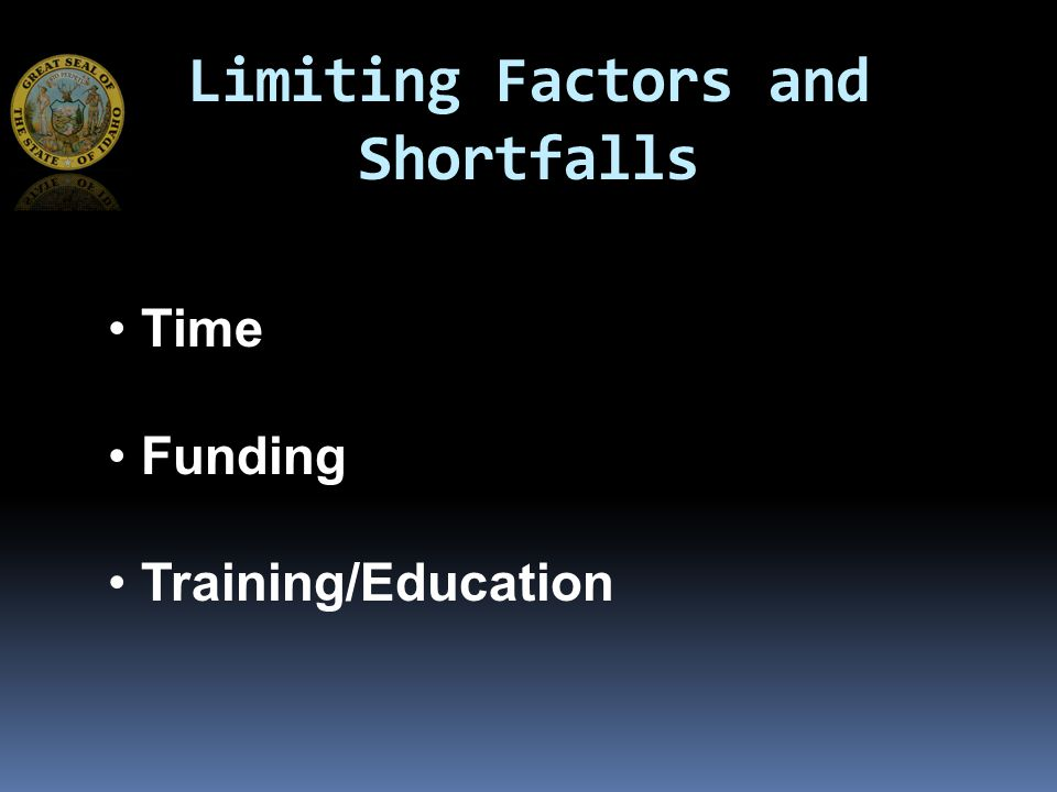 Limiting Factors and Shortfalls Time Funding Training/Education