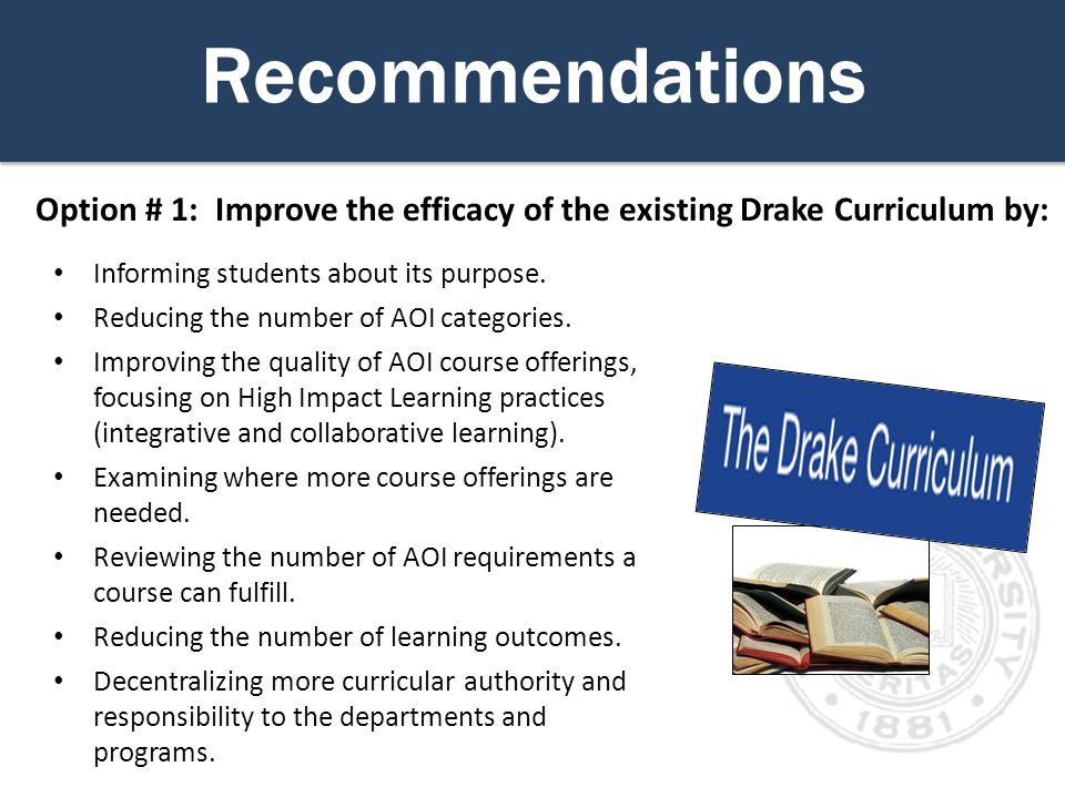 Recommendations Informing students about its purpose.