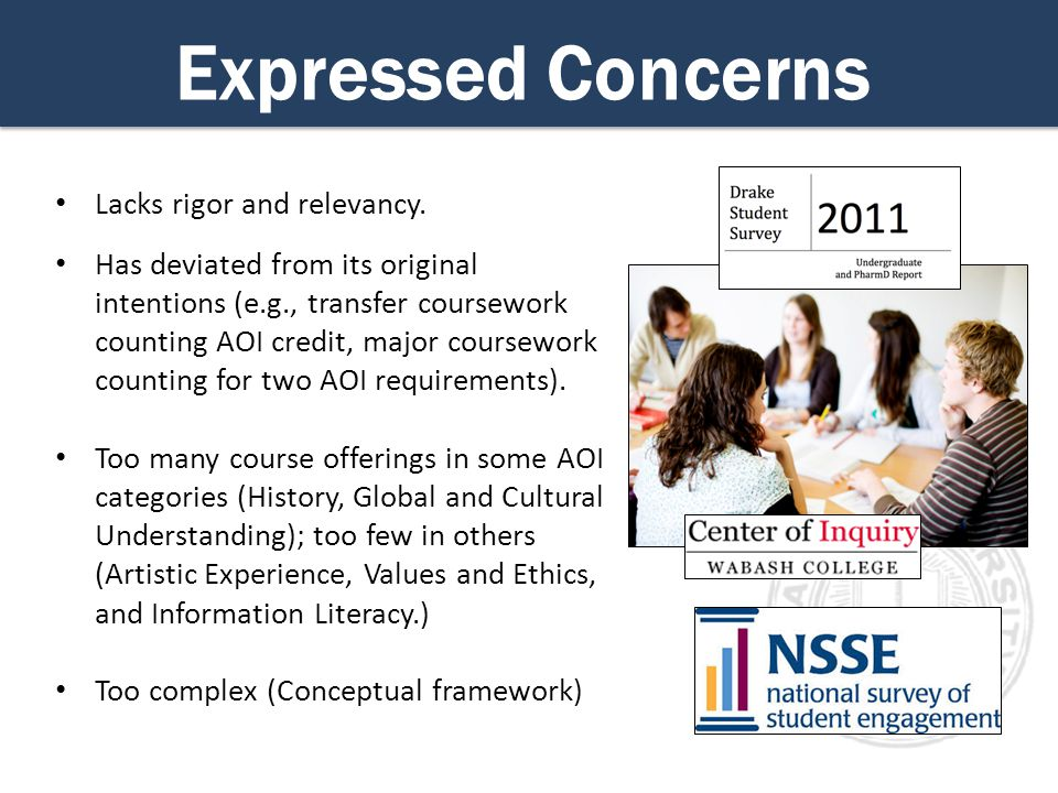 Expressed Concerns Lacks rigor and relevancy.