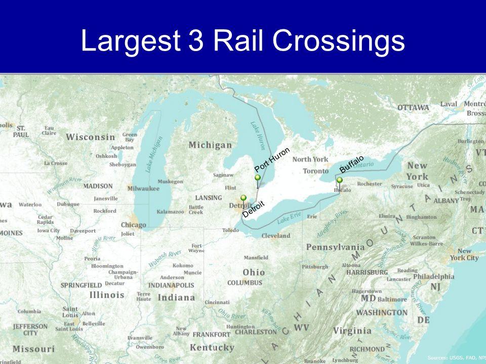 Largest 3 Rail Crossings Port Huron Detroit Buffalo