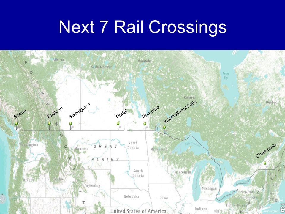 Next 7 Rail Crossings Blaine Eastport Sweetgrass PortalPembina International Falls Champlain