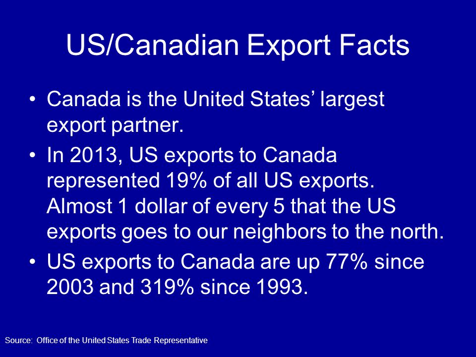 US/Canadian Export Facts Canada is the United States' largest export partner. In 2013, US exports to Canada represented 19% of all US exports. Almost