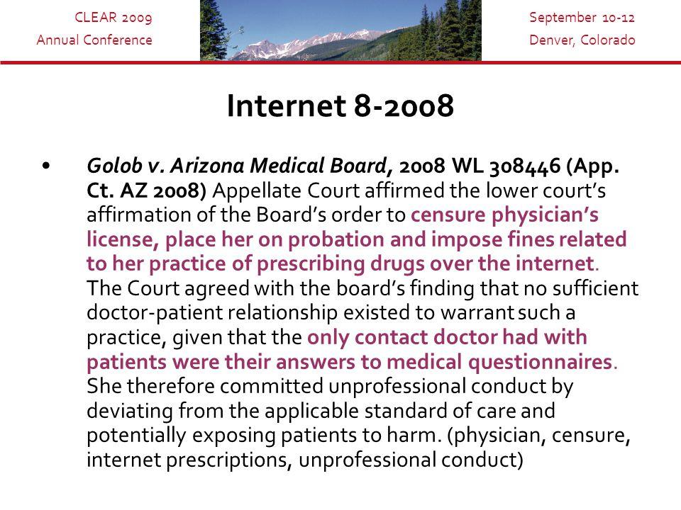 CLEAR 2009 Annual Conference September 10-12 Denver, Colorado Internet 8-2008 Golob v.