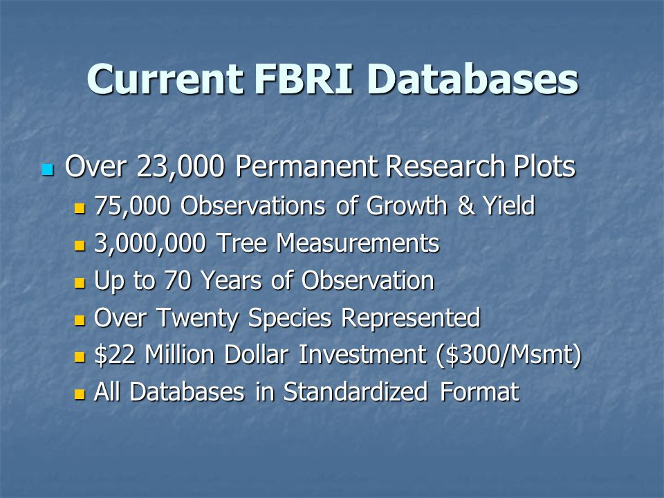 Current FBRI Databases Over 23,000 Permanent Research Plots Over 23,000 Permanent Research Plots 75,000 Observations of Growth & Yield 75,000 Observations of Growth & Yield 3,000,000 Tree Measurements 3,000,000 Tree Measurements Up to 70 Years of Observation Up to 70 Years of Observation Over Twenty Species Represented Over Twenty Species Represented $22 Million Dollar Investment ($300/Msmt) $22 Million Dollar Investment ($300/Msmt) All Databases in Standardized Format All Databases in Standardized Format