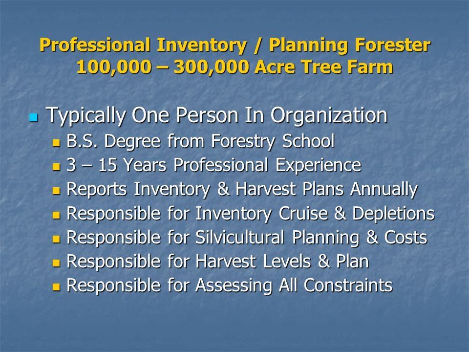 Professional Inventory / Planning Forester 100,000 – 300,000 Acre Tree Farm Typically One Person In Organization Typically One Person In Organization B.S.