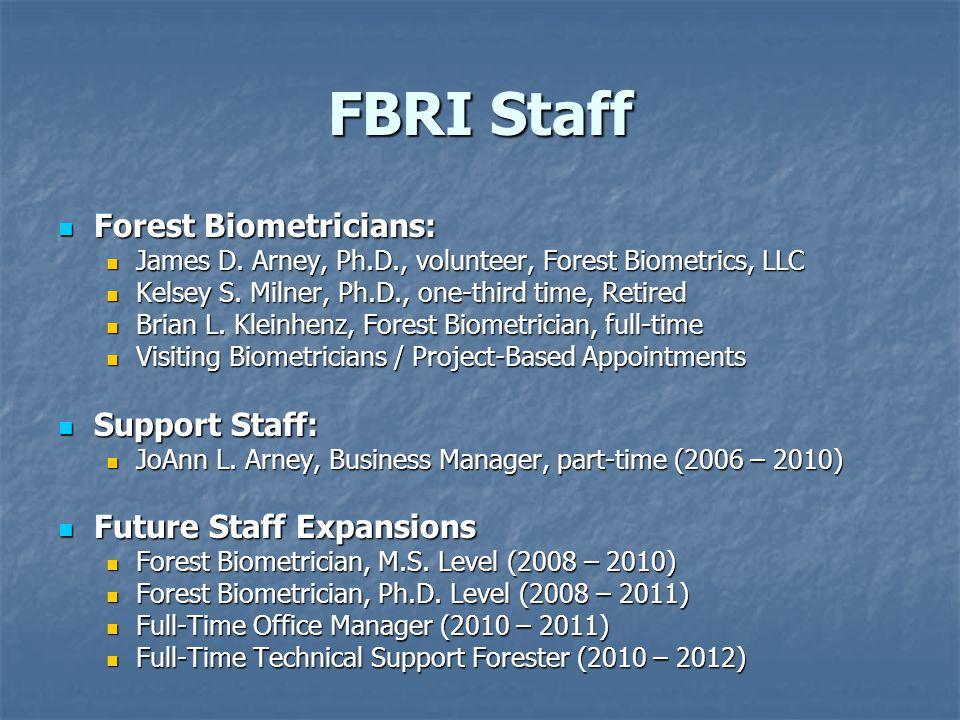 FBRI Staff Forest Biometricians: Forest Biometricians: James D.