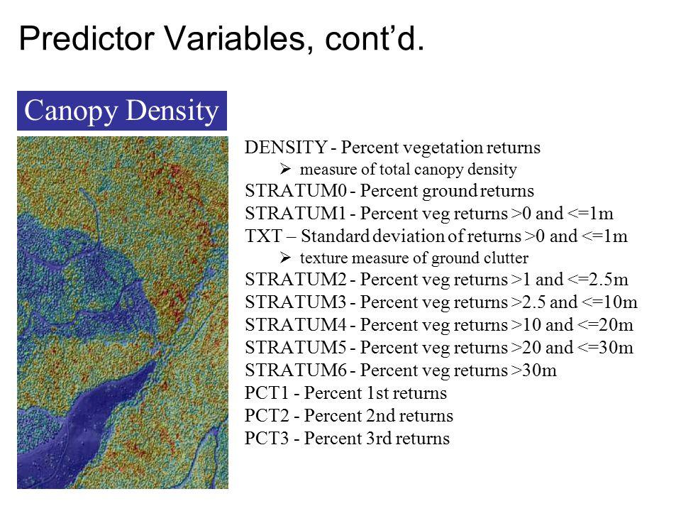 Predictor Variables, cont'd.