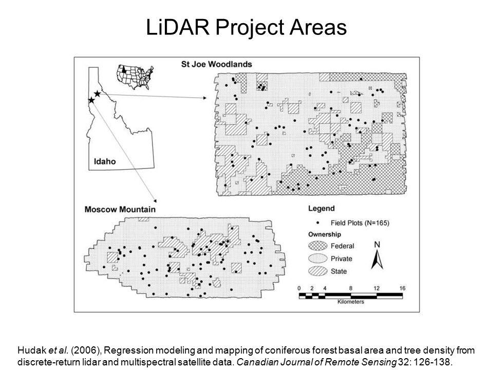 LiDAR Project Areas Hudak et al.