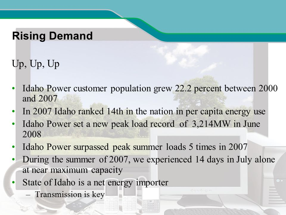 Idaho Power Service Area Demand Going Up