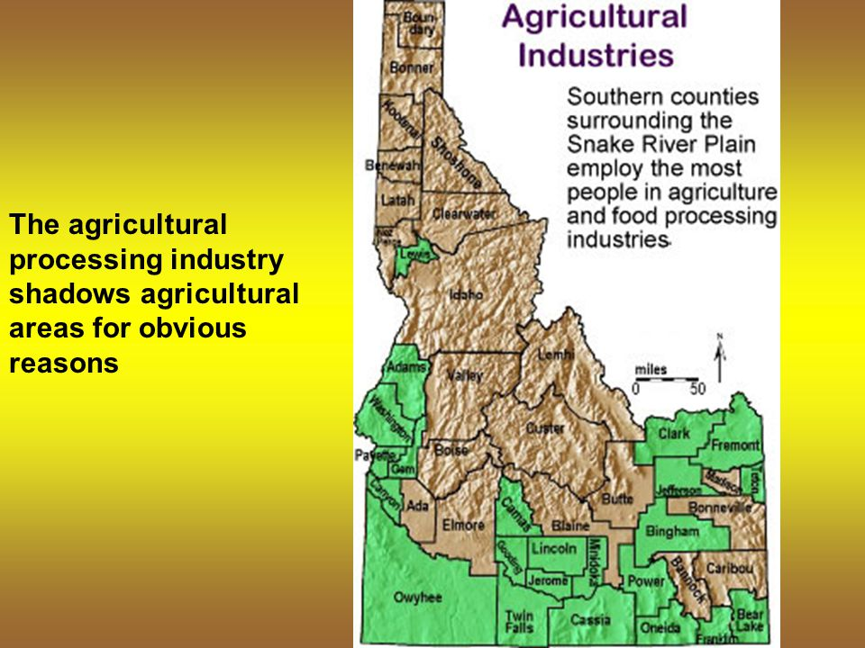 The agricultural processing industry shadows agricultural areas for obvious reasons