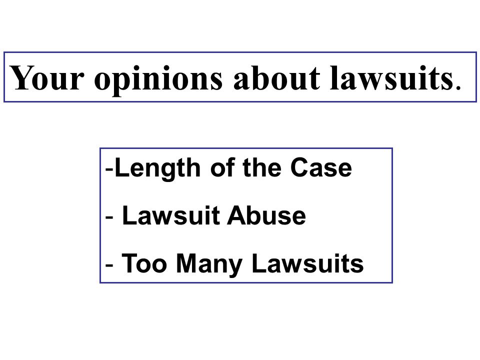 Your opinions about lawsuits. -Length of the Case - Lawsuit Abuse - Too Many Lawsuits