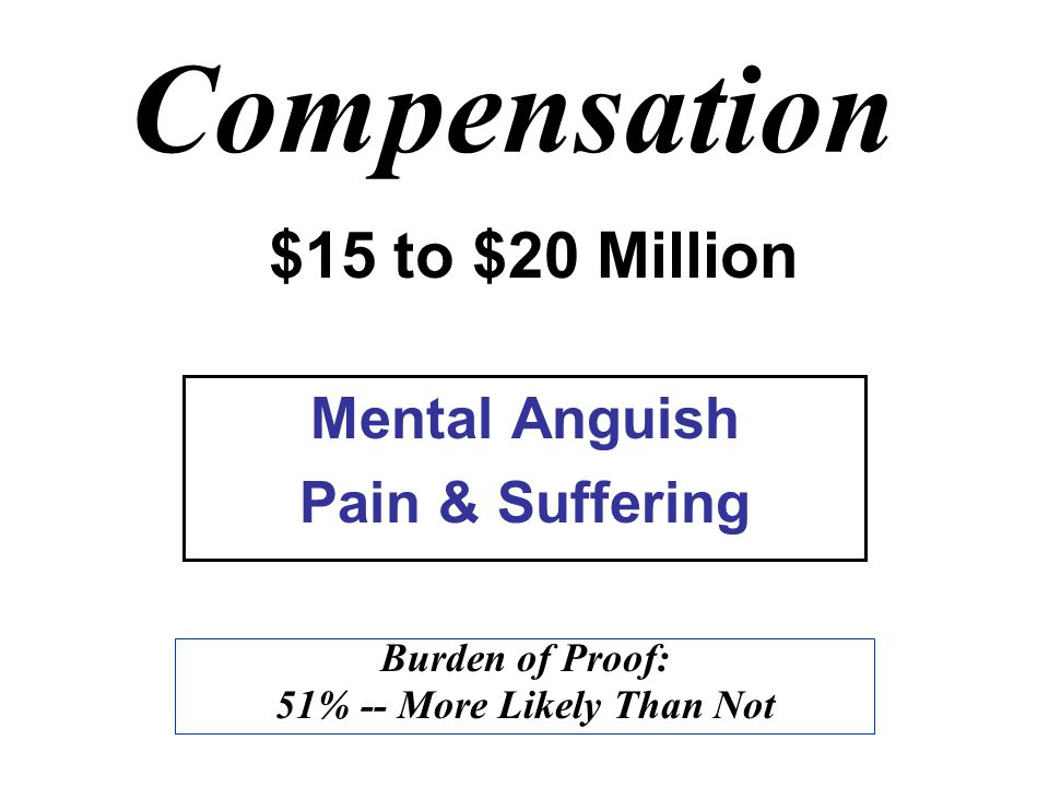 Compensation Mental Anguish Pain & Suffering Burden of Proof: 51% -- More Likely Than Not $15 to $20 Million
