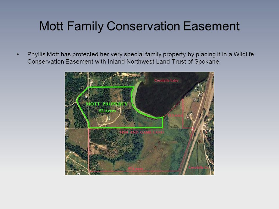 Phyllis Mott has protected her very special family property by placing it in a Wildlife Conservation Easement with Inland Northwest Land Trust of Spokane.