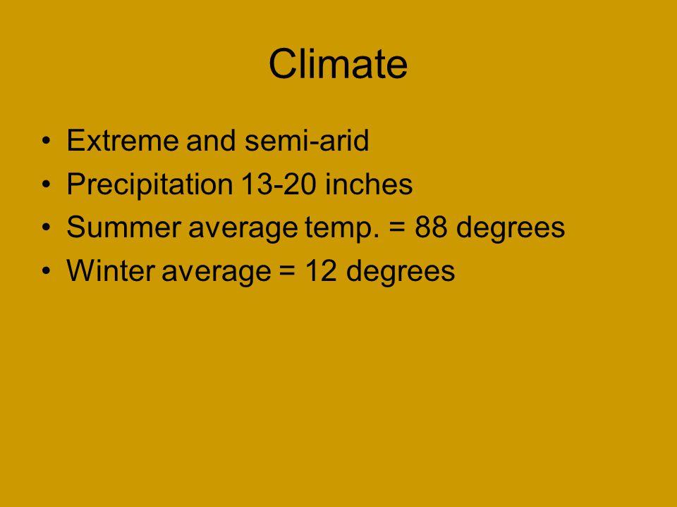 Climate Extreme and semi-arid Precipitation 13-20 inches Summer average temp. = 88 degrees Winter average = 12 degrees
