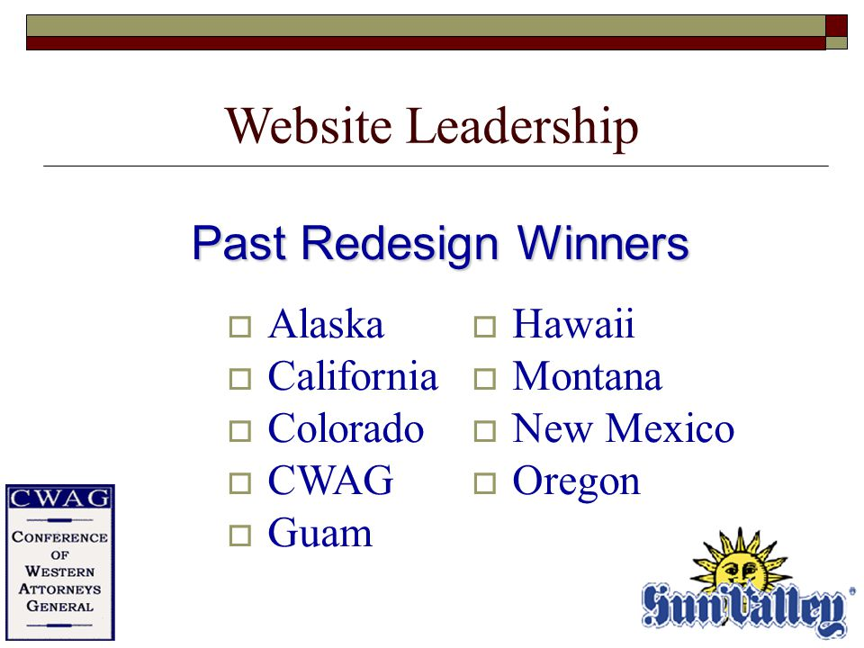 Past Redesign Winners  Alaska  California  Colorado  CWAG  Guam  Hawaii  Montana  New Mexico  Oregon Website Leadership