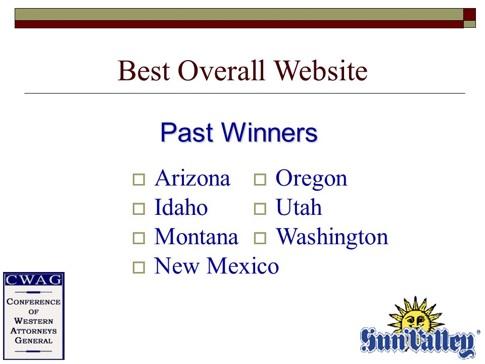 Past Winners  Arizona  Idaho  Montana  New Mexico  Oregon  Utah  Washington Best Overall Website