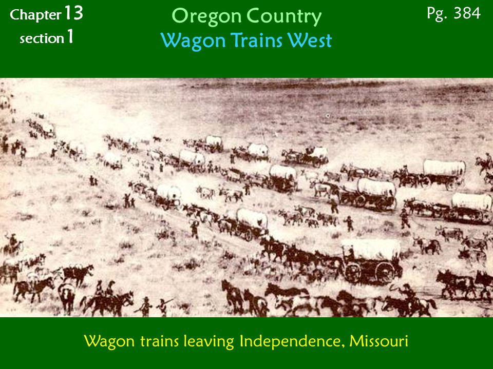 Wagon trains leaving Independence, Missouri Pg. 384 Chapter 13 section 1 Oregon Country Wagon Trains West