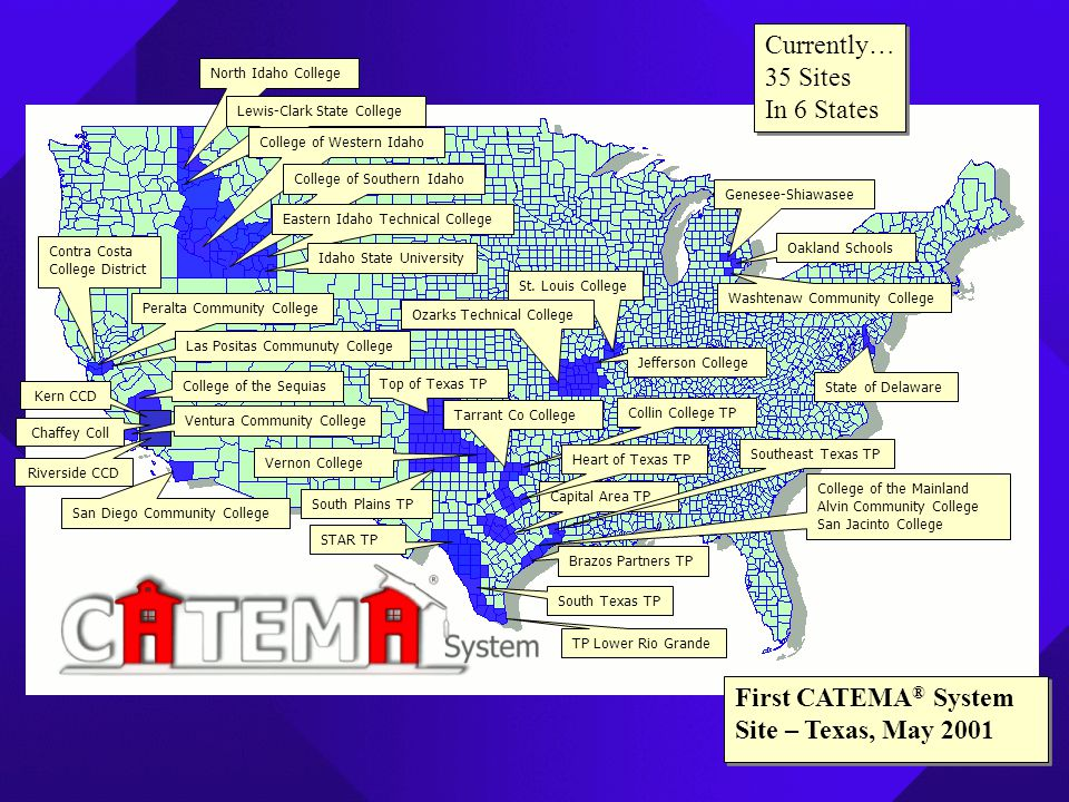 First CATEMA ® System Site – Texas, May 2001 Currently… 35 Sites In 6 States Currently… 35 Sites In 6 States North Idaho College Lewis-Clark State Col