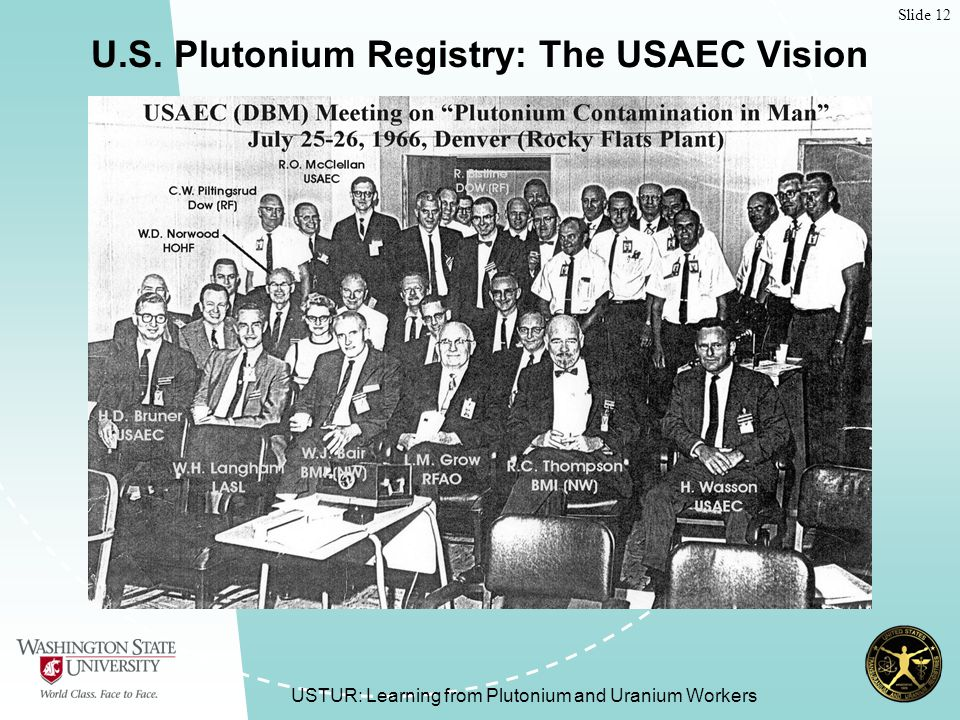 Slide 12 USTUR: Learning from Plutonium and Uranium Workers U.S.
