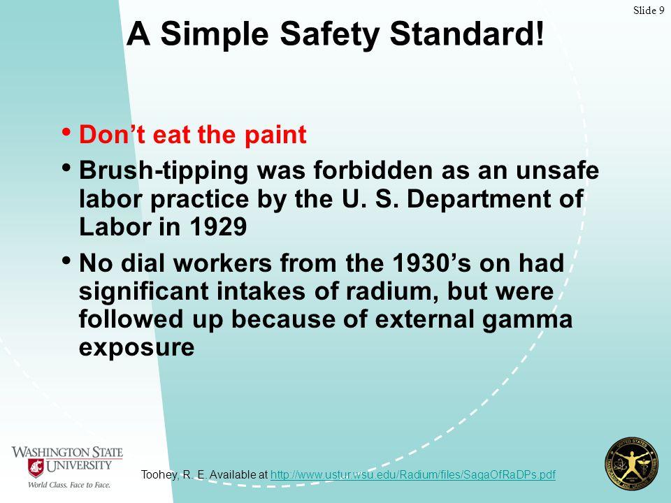 Slide 9 A Simple Safety Standard.