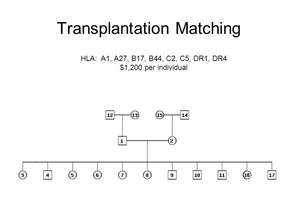 Transplantation Matching HLA: A1, A27, B17, B44, C2, C5, DR1, DR4 $1,200 per individual