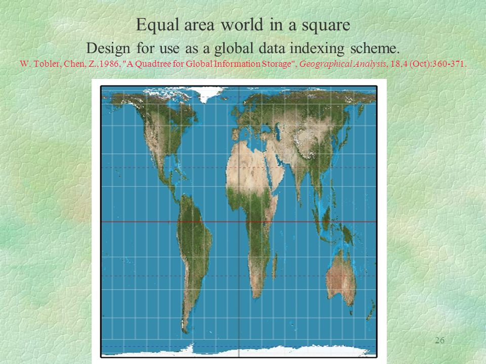 26 Equal area world in a square Design for use as a global data indexing scheme. W. Tobler, Chen, Z.,1986,
