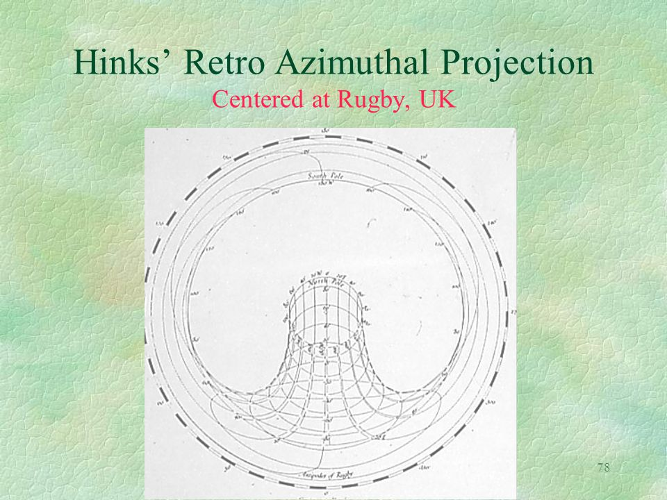 78 Hinks' Retro Azimuthal Projection Centered at Rugby, UK