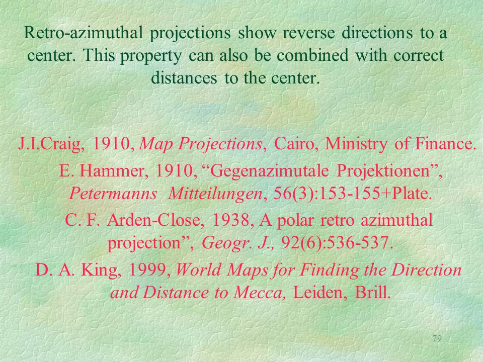 79 Retro-azimuthal projections show reverse directions to a center. This property can also be combined with correct distances to the center. J.I.Craig