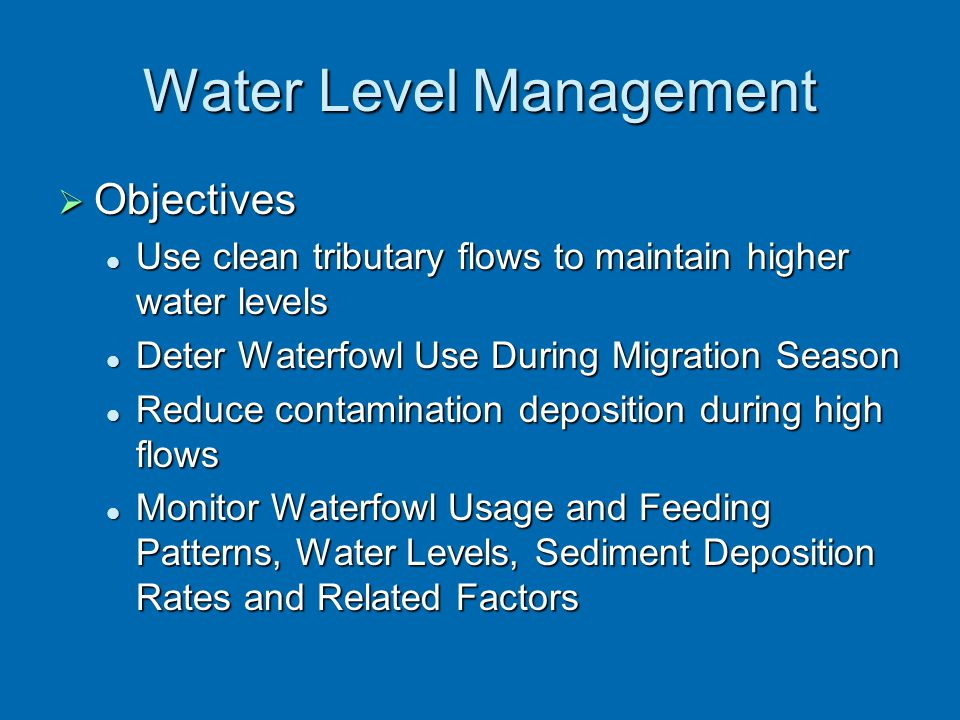 Water Level Management  Objectives Use clean tributary flows to maintain higher water levels Use clean tributary flows to maintain higher water level