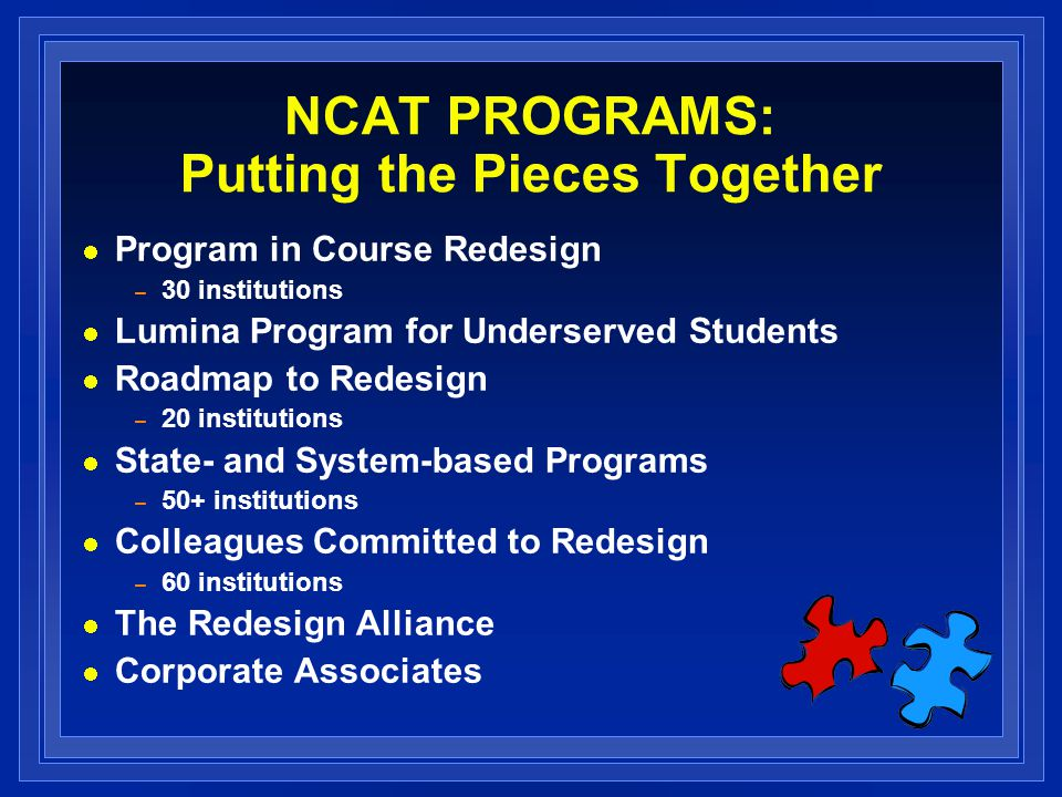 NCAT PROGRAMS: Putting the Pieces Together Program in Course Redesign – 30 institutions Lumina Program for Underserved Students Roadmap to Redesign –